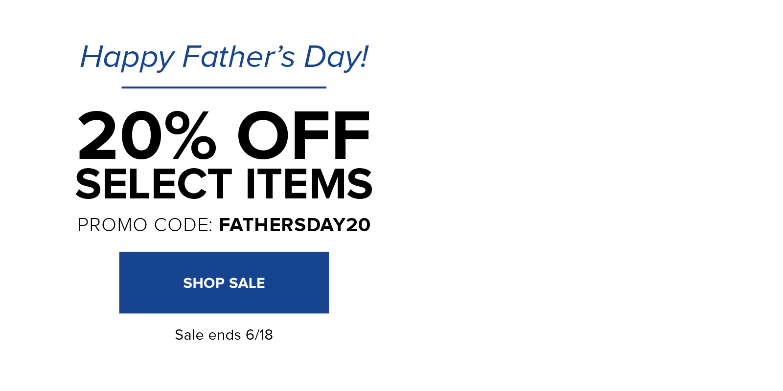 20% off select items for dad with code