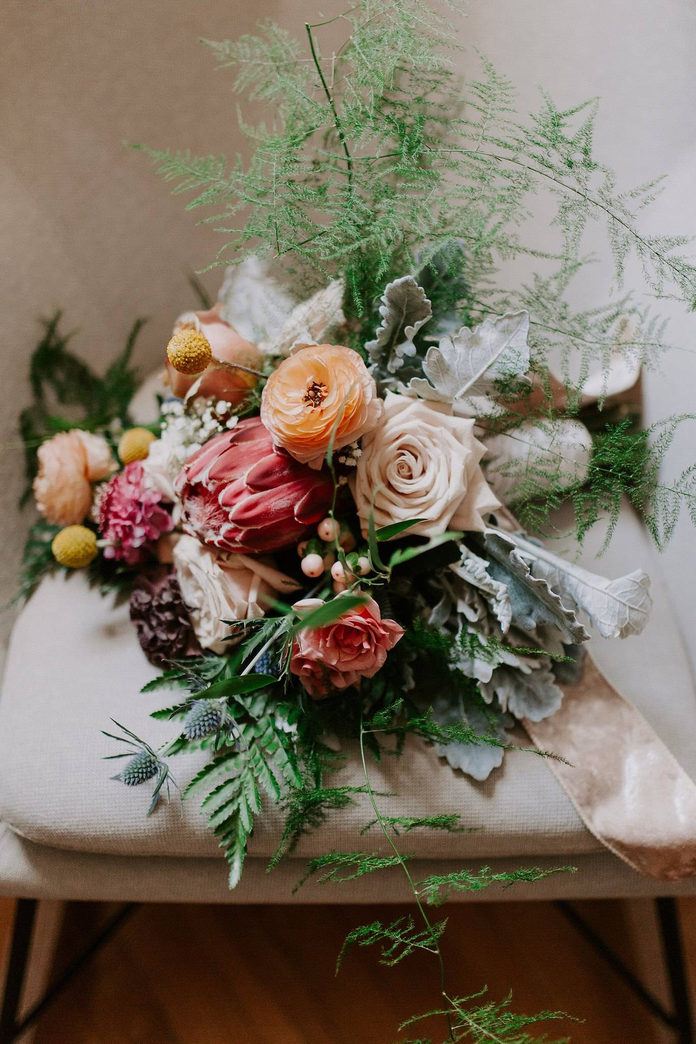 DIY BOUQUET:  Billy Balls, Queen Protea, Sahara Roses, Plumosa, Pink Scabiosa, Dusty Miller