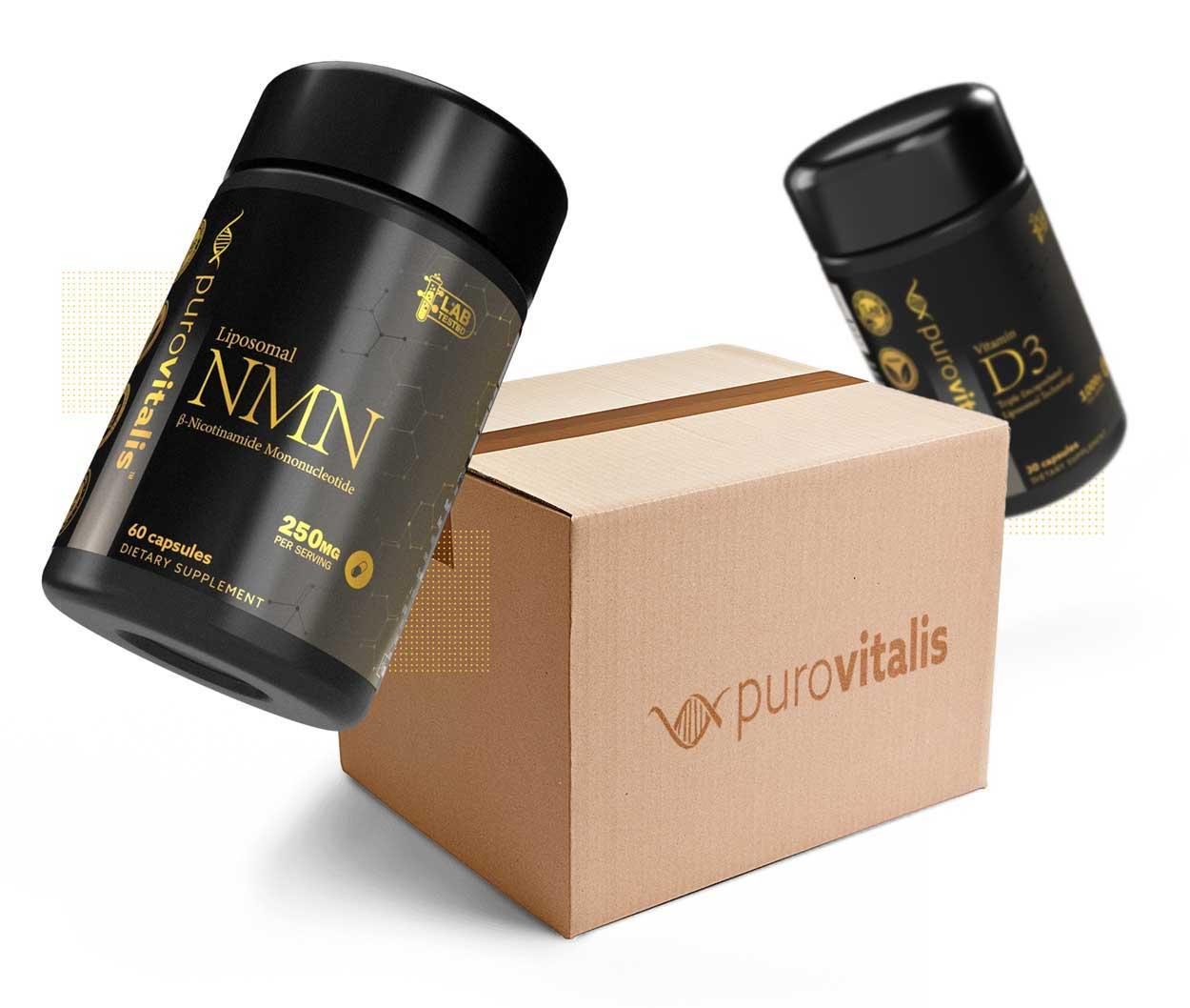 Shipping box with liposomal nmn capsules