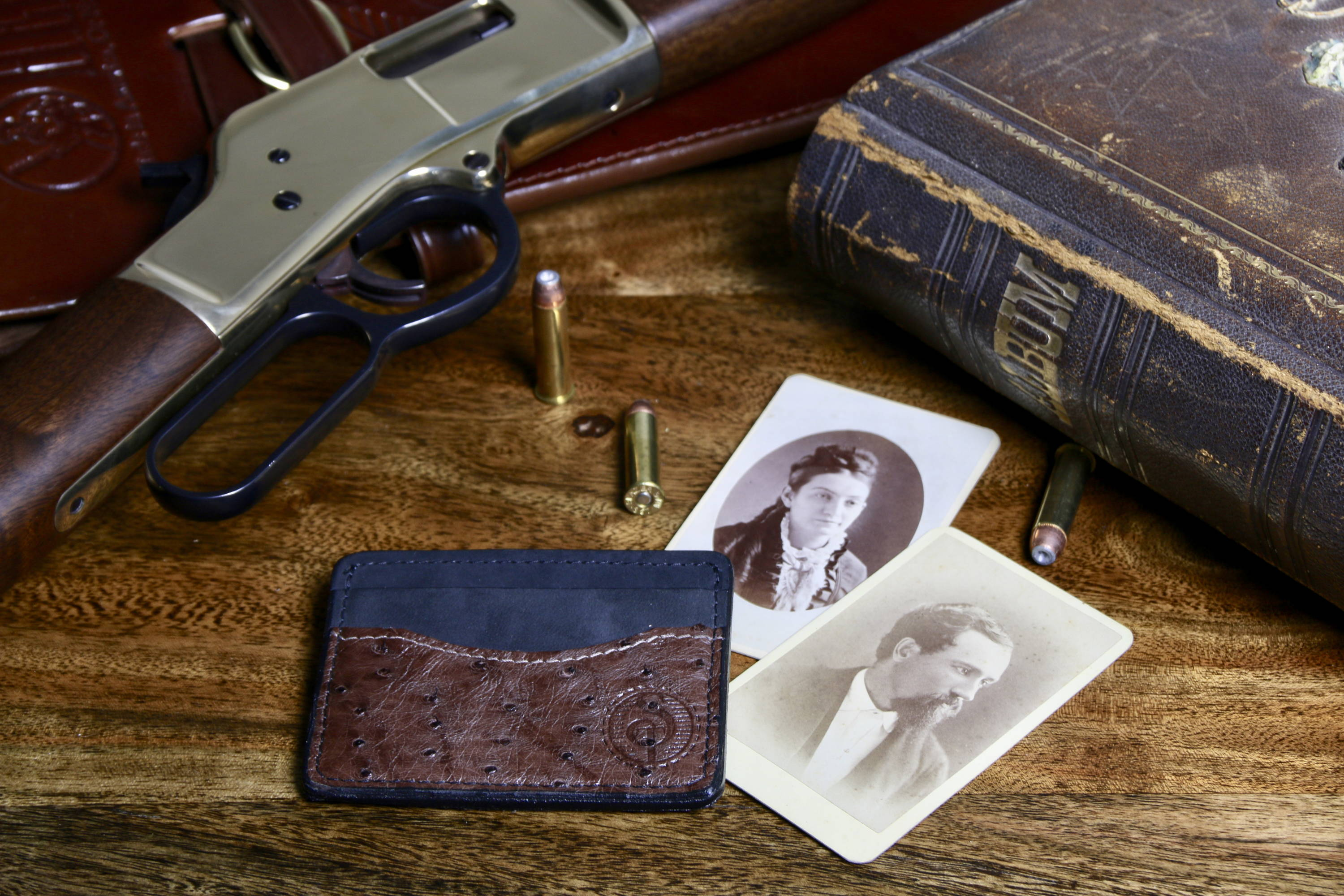 Ostrich Skin Front Pocket Wallet