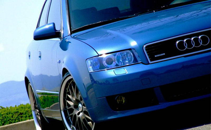 Audi with Blue Lamin-x headlight film covers