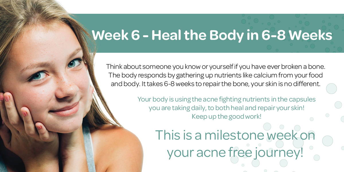 Your body is using the acne fighting nutrients in the capsules you are taking daily, to both heal and repair your skin!
