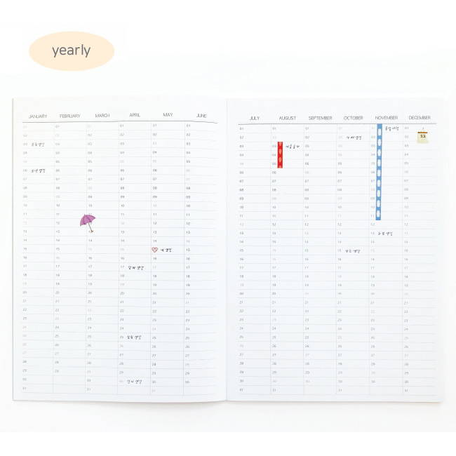 Yearly plan - O-CHECK 2020 Spring come A4 dated monthly planner