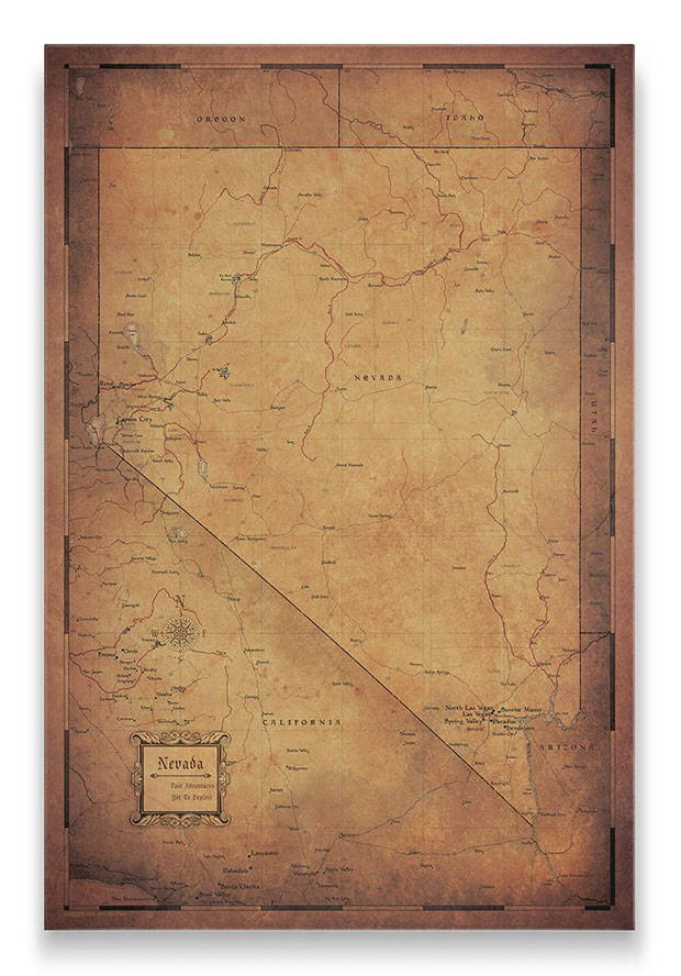 Nevada Push pin travel map golden aged