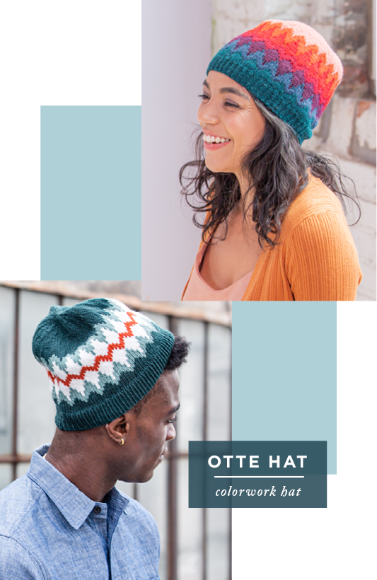 Two images showing modeled side views of two versions of Otte Hat: colorwork hat