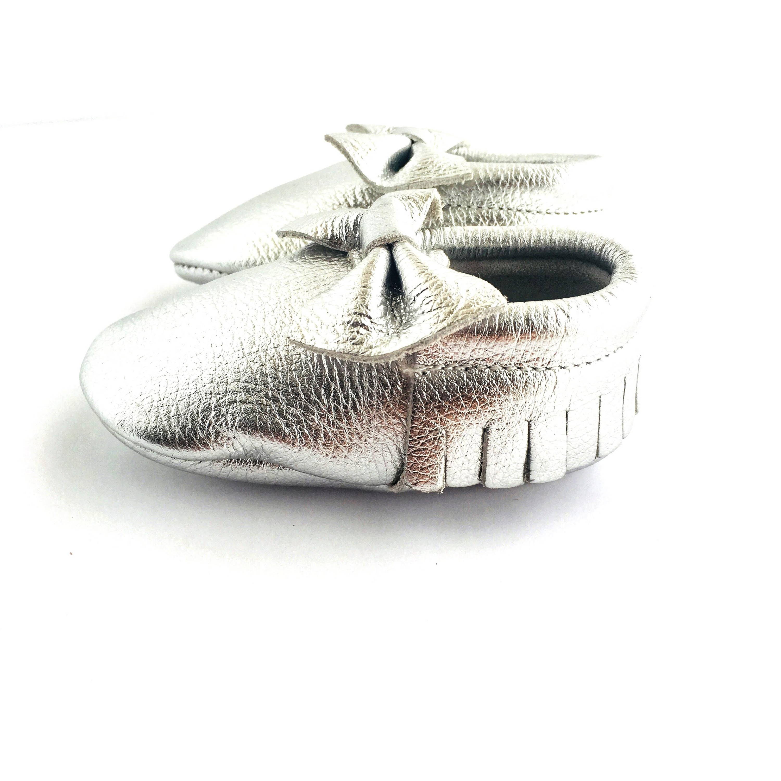 Bow Baby Soft Sole Shoe Metallic Silver Colour sole view