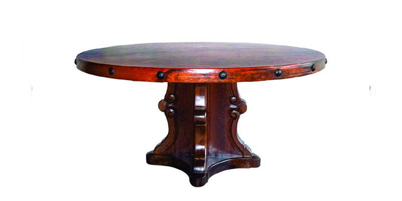 round hand hammered copper dining table with nails