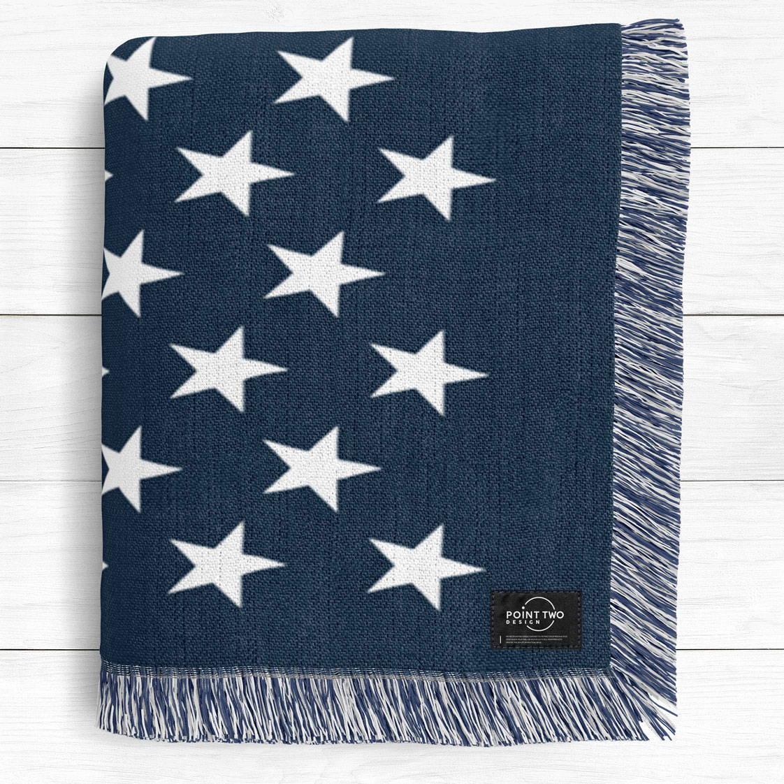 Modern United States Flag Cotton Woven Blanket