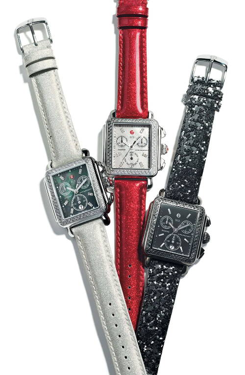 Ladies Watches with Silver, Black and Red Straps