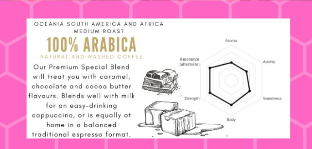 A medium strength blend showcasing caramel to oak aromas. Flavours of chocolate, roasted peanuts and cocoa butter blends well as a milk based coffee whilst still being suitable for straight espresso.   Medium Africa, Oceania, South America Bourbon, Caturra, Typica, Kent