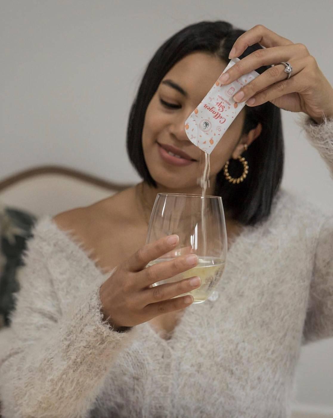 kim seidensticker pouring just bloom collagen sip