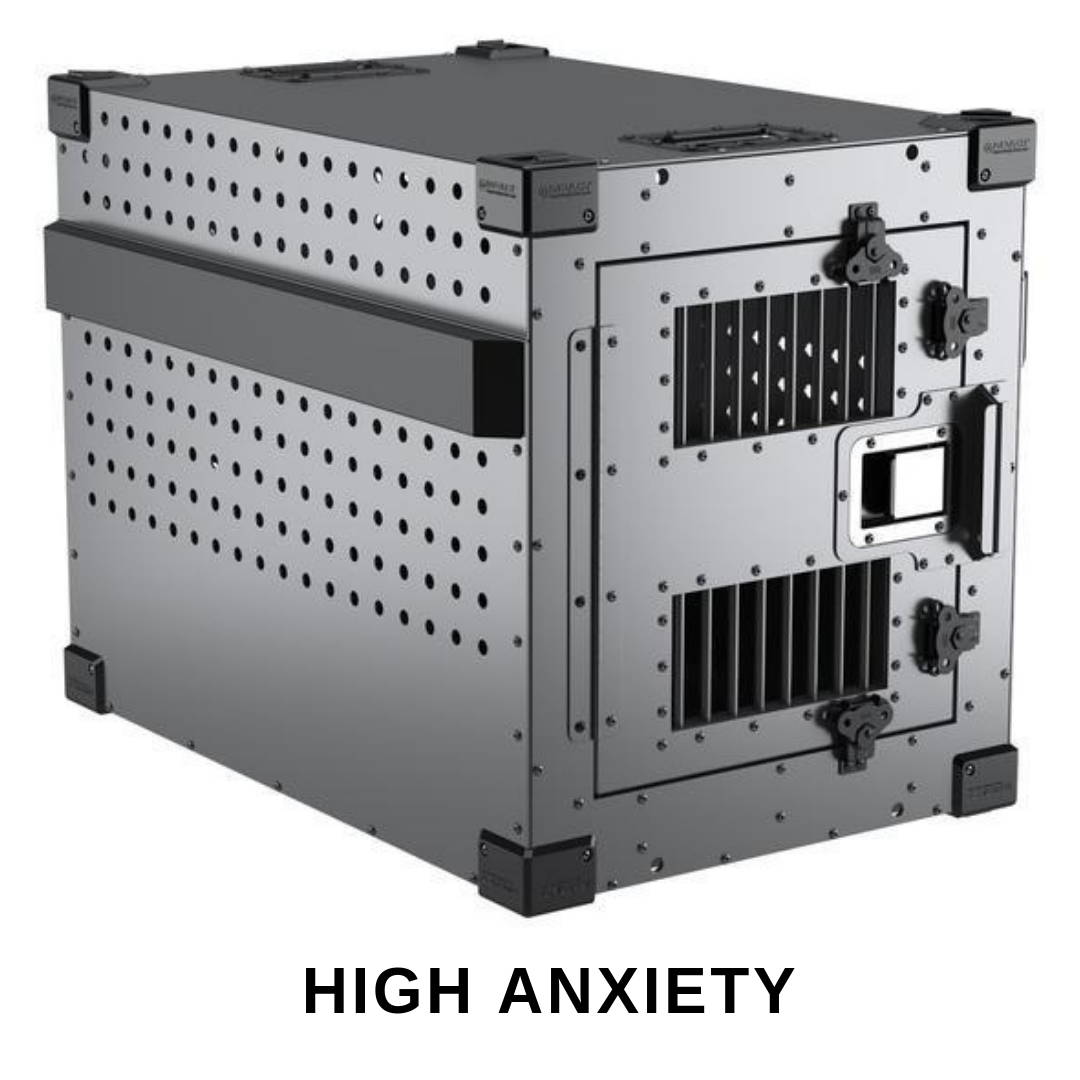 gray high anxiety impact dog crate