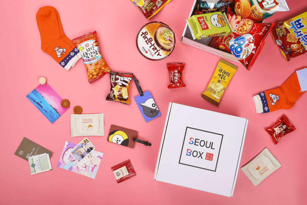Korea box with BTS socks and lugggage tag