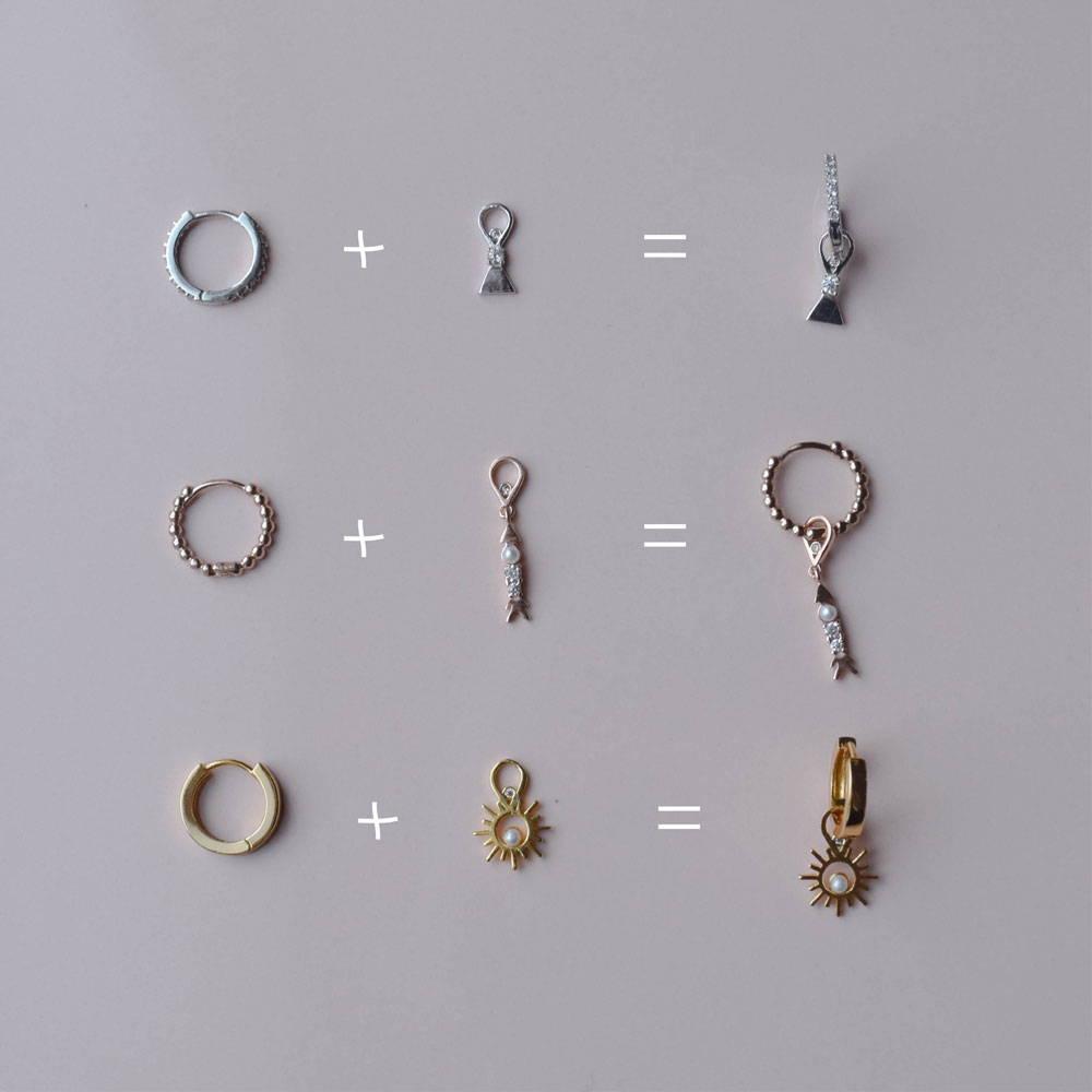 Earring charm and base hoops