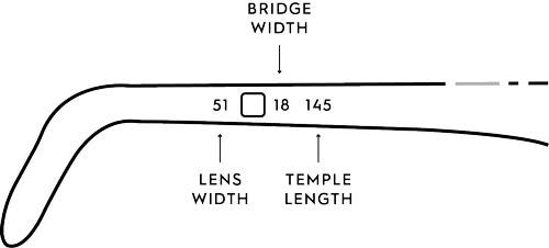 Glasses measurements is the set of 3 numbers printed on the temple or bridge of your frames
