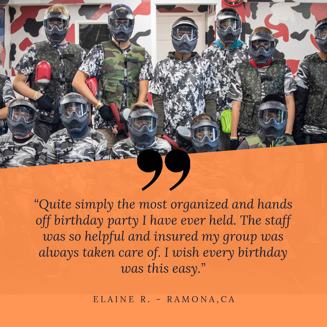 San Diego Paintball Park Birthday Review Quote