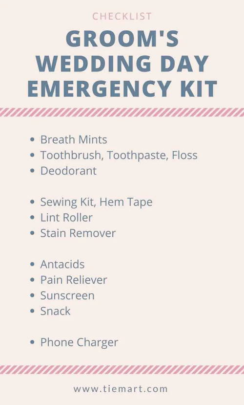 Groom S Emergency Kit Checklist