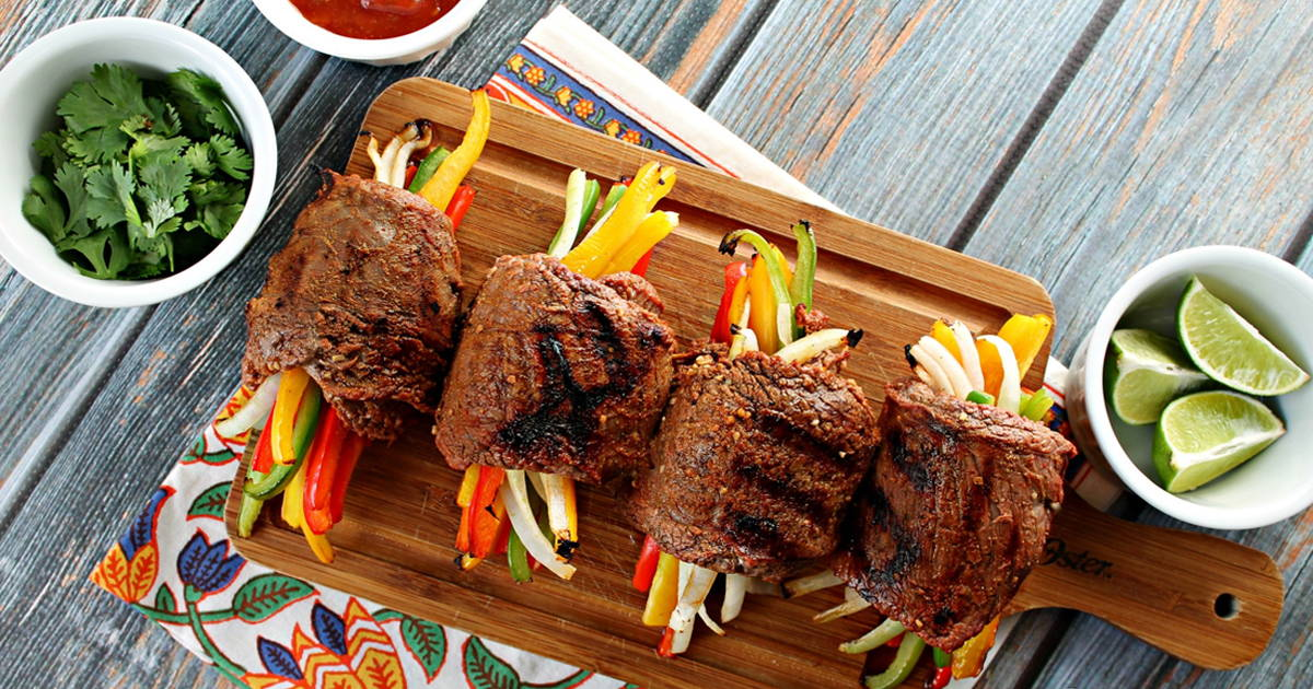 Stuffed flank steak fajitas