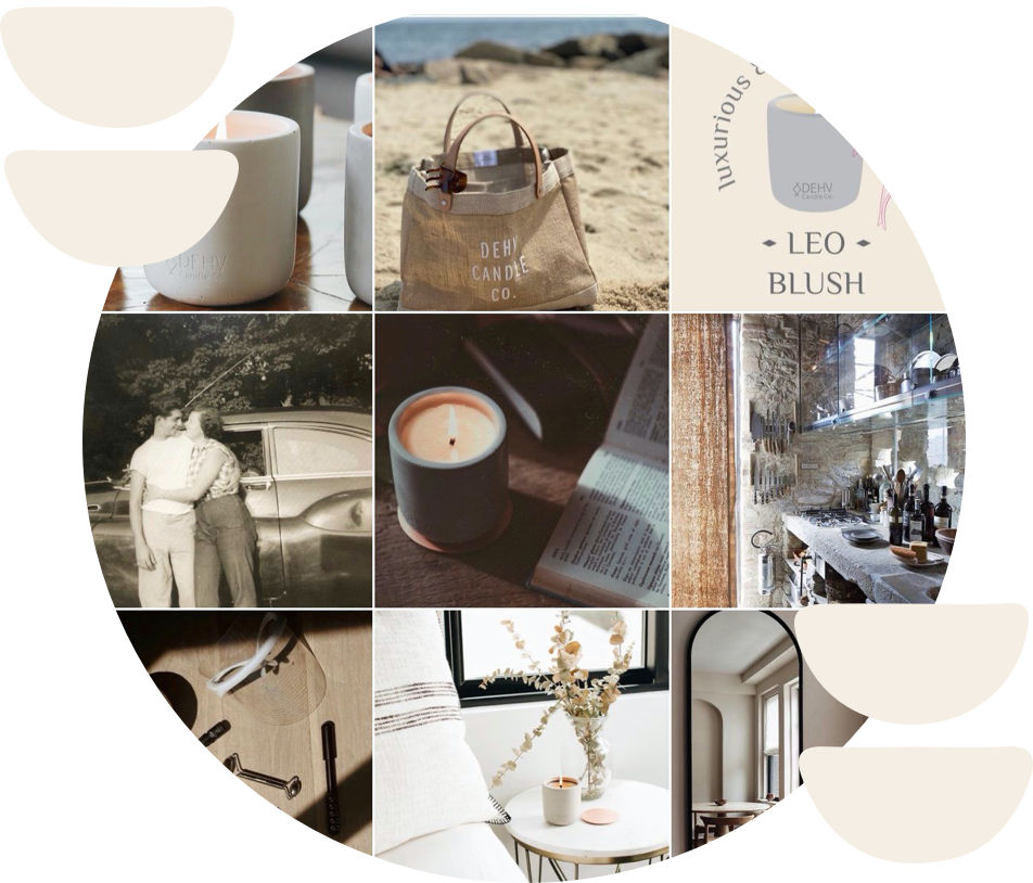 circle containing 9 square grid screenshot of DEHV's instagram page with white abstract objects on either side