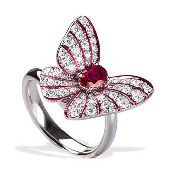 Red butterfly ring with red center gem and diamond wings