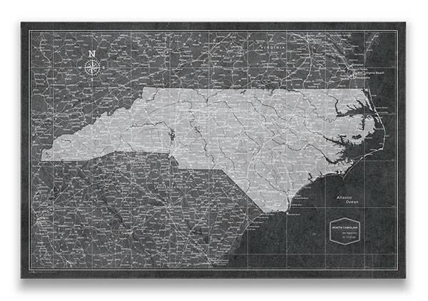 North Carolina Push pin travel map modern slate
