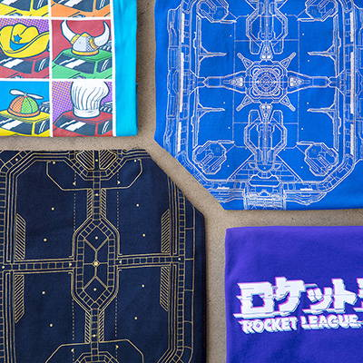 Photo showing a collection of Rocket League shirts