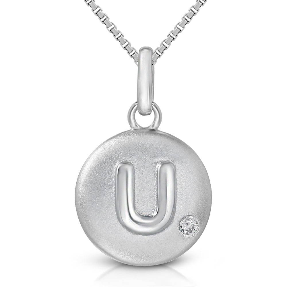 Pure at Birth letter U pendant with greek box necklace