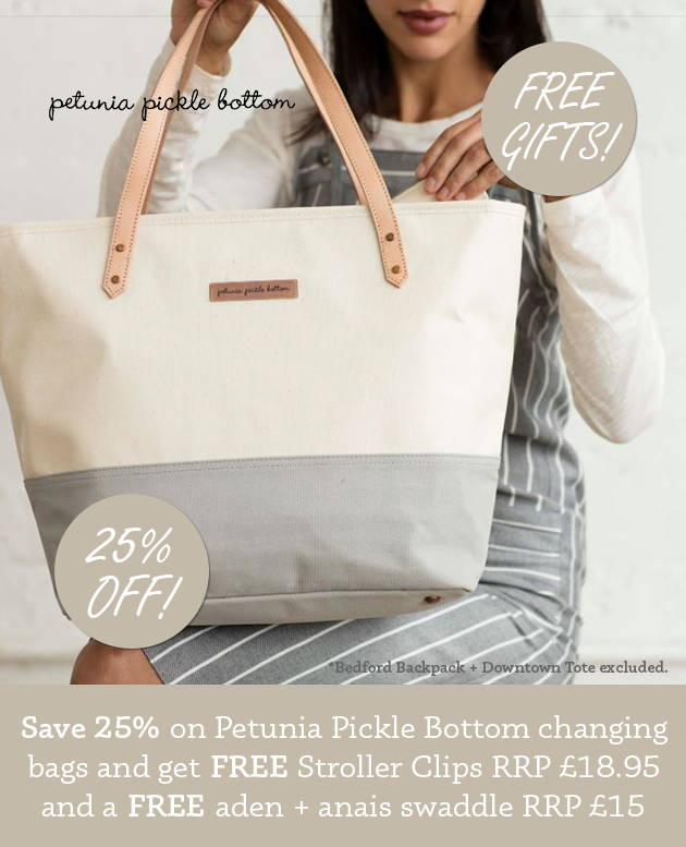 25% off selected Petunia Pickle Bottom Changing Bags with free stroller clips and swaddle