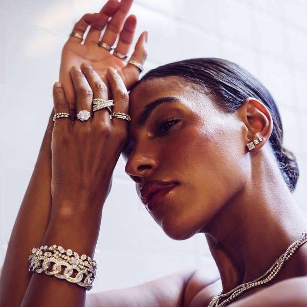 Model wearing Ring Concierge bespoke engagement ring
