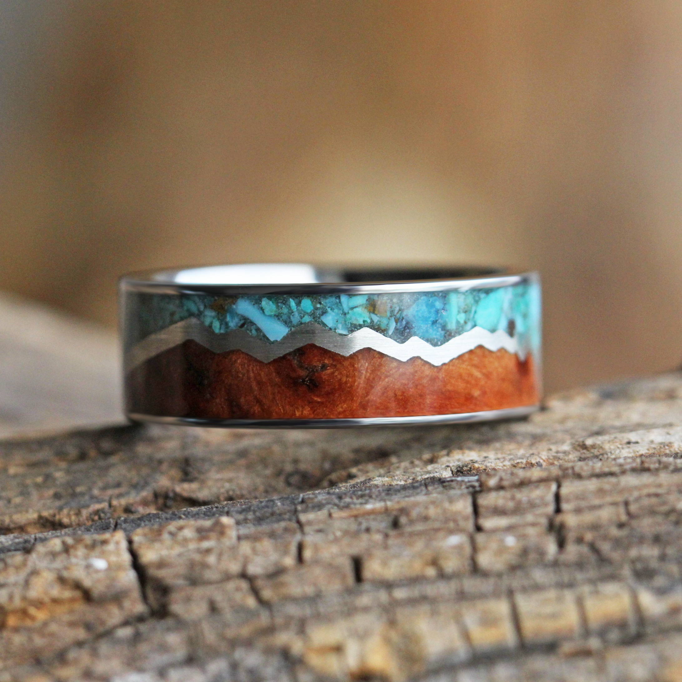 Turquoise and Wood Mountain Range Ring
