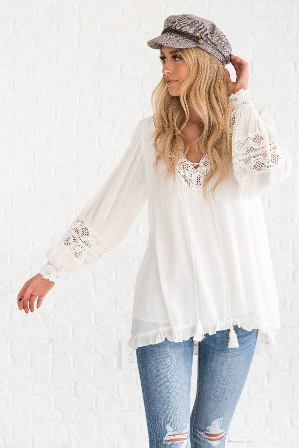Girl in white crochet top