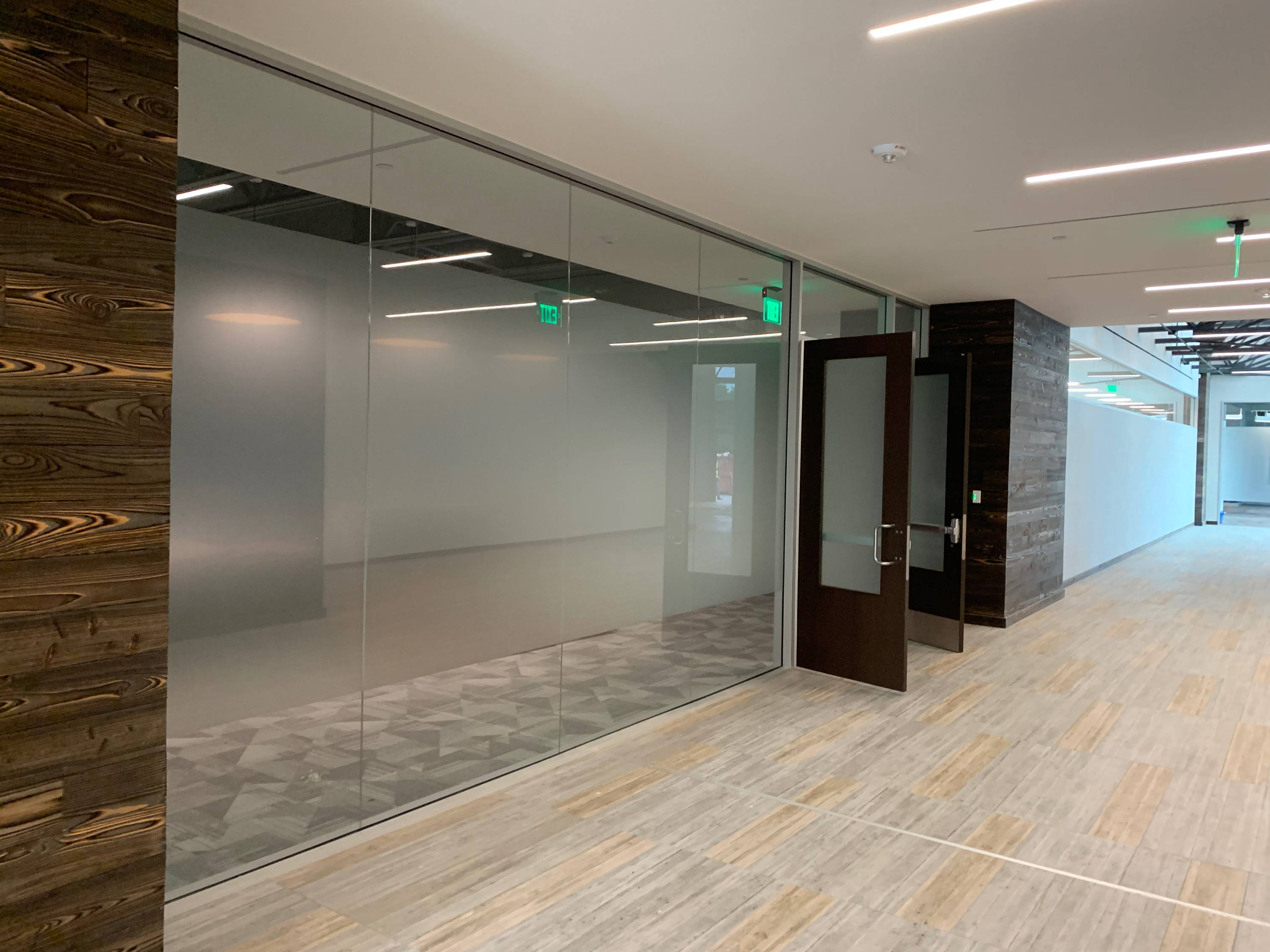 Privacy glass office partitions
