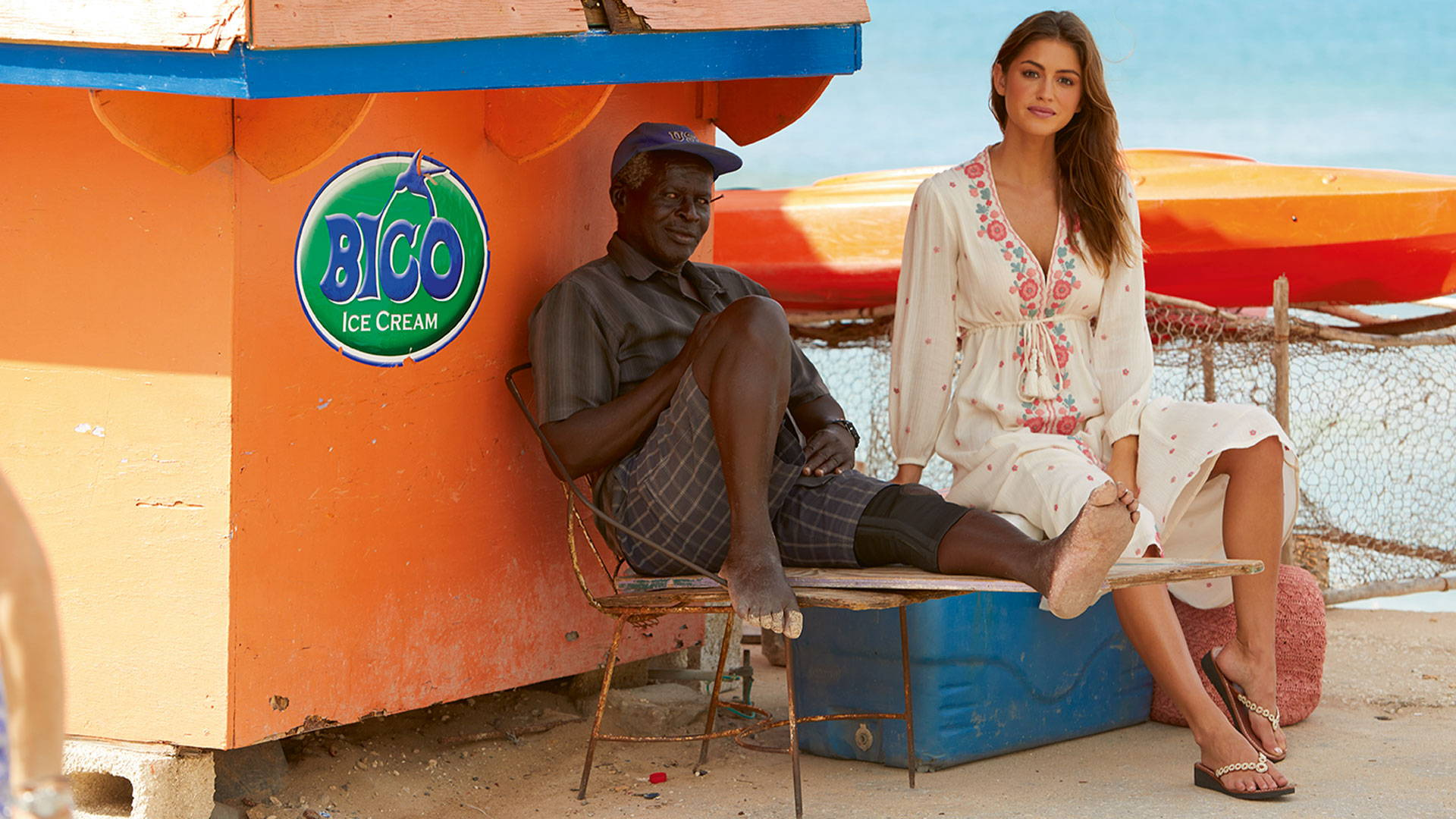 Model with a local in Barbados