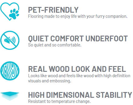 Pet friendly, quiet comfort underfoot, real wood look and feel, high dimensional stability