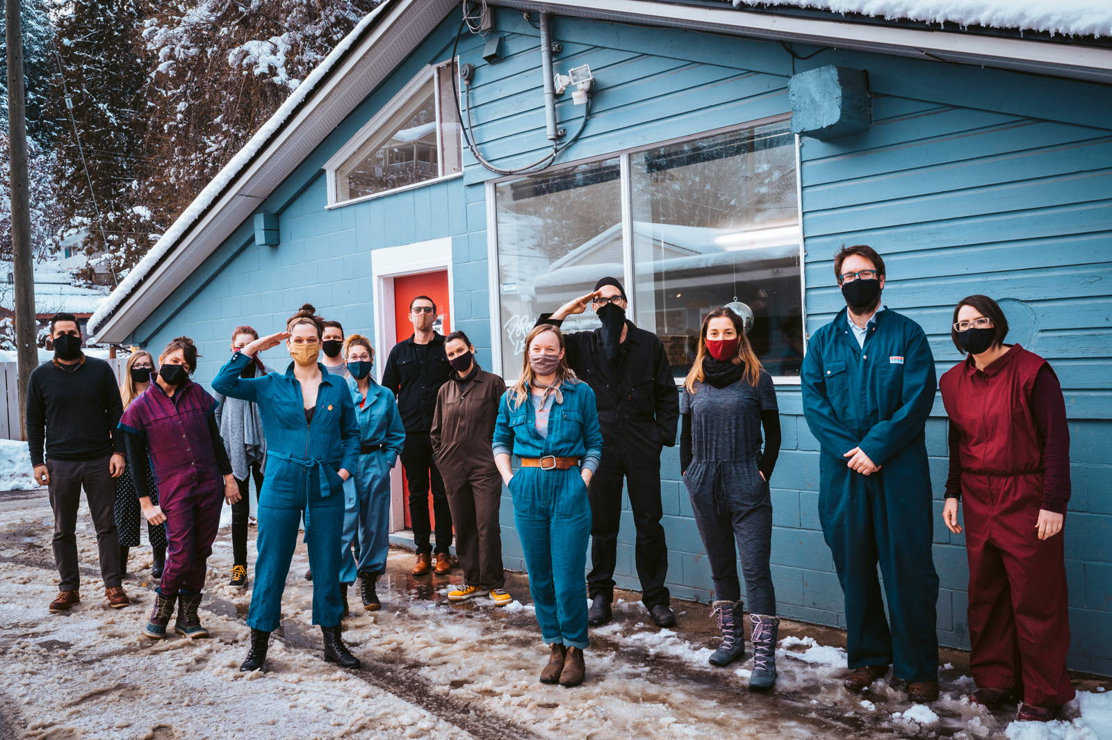 The Popov Leather team standing outside the workshop