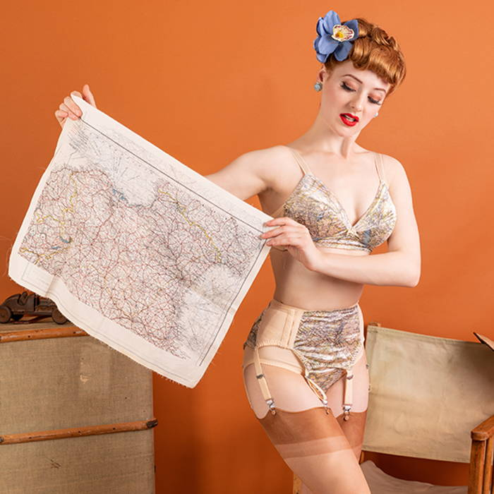 Escape & Evade Lingerie | Map Print 1940s Austerity Parachute Silk Style Fashion