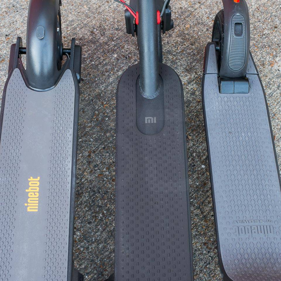 Ninebot Max G30 Electric scooter compared to M365 Pro Segway ninebot ES4 footplates