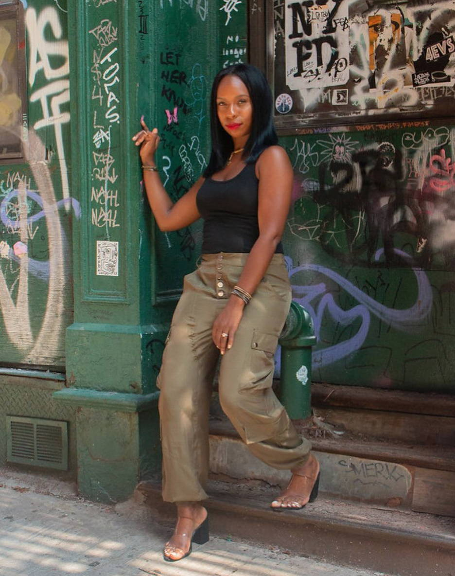 khakit cargo pants with mules and tank - Coveted Style