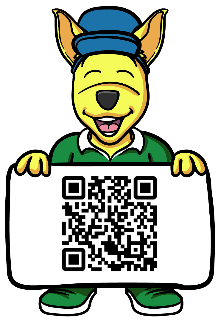 Kevin the Kangaroo Holding a QR Code