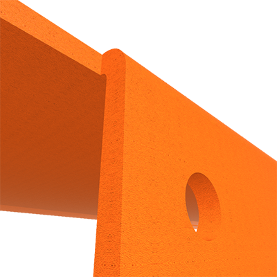 détail proche étagère murale métal orange