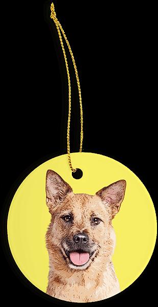 custom dog pop art on yellow christmas ornament