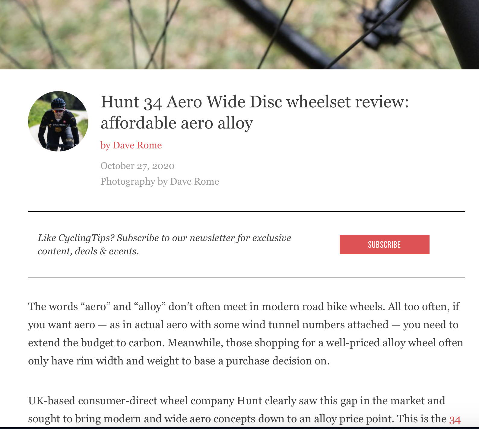 Cyclingtips.com review of HUNT 34 Aero Wide Disc Wheelset