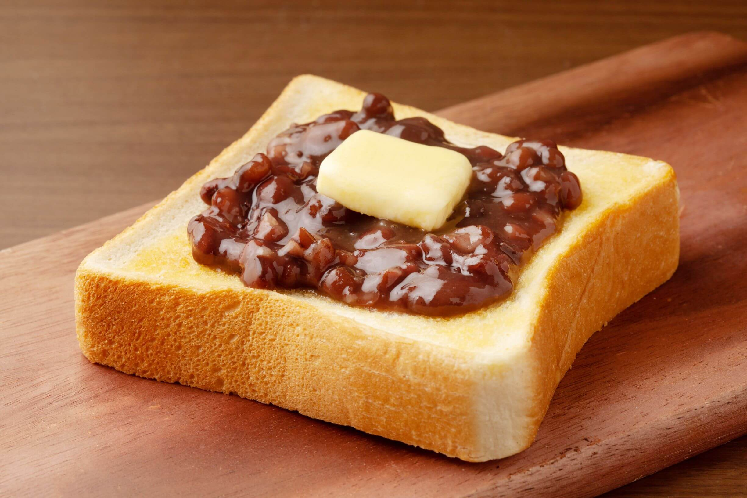 toast topped with red bean paste and butter