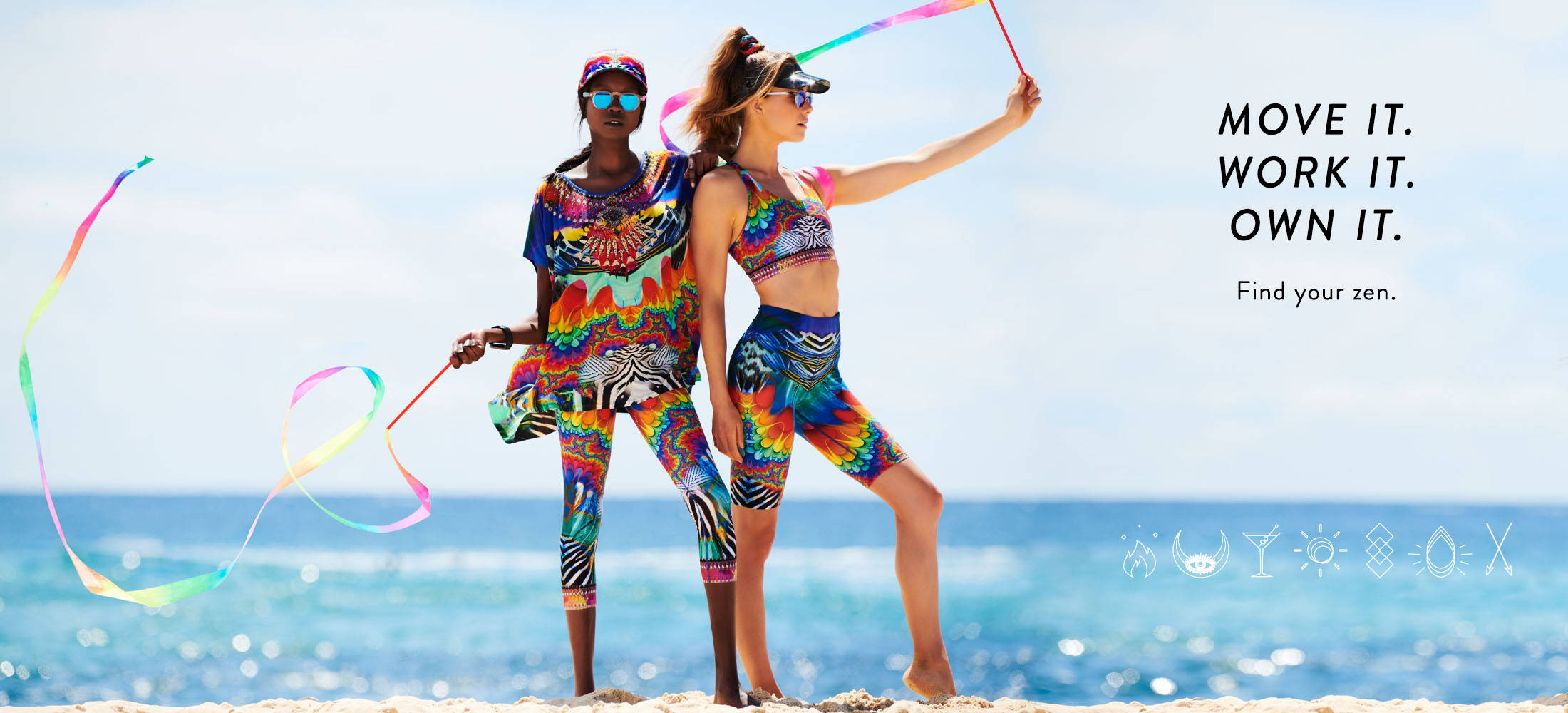 CAMILLA rainbow coloured printed activewear | Yoga pant, short, tee and crop.