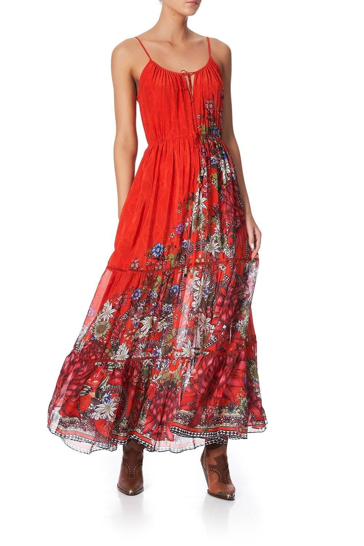 WONDERING WARATAH DRESS WITH TIE FRONT DETAIL
