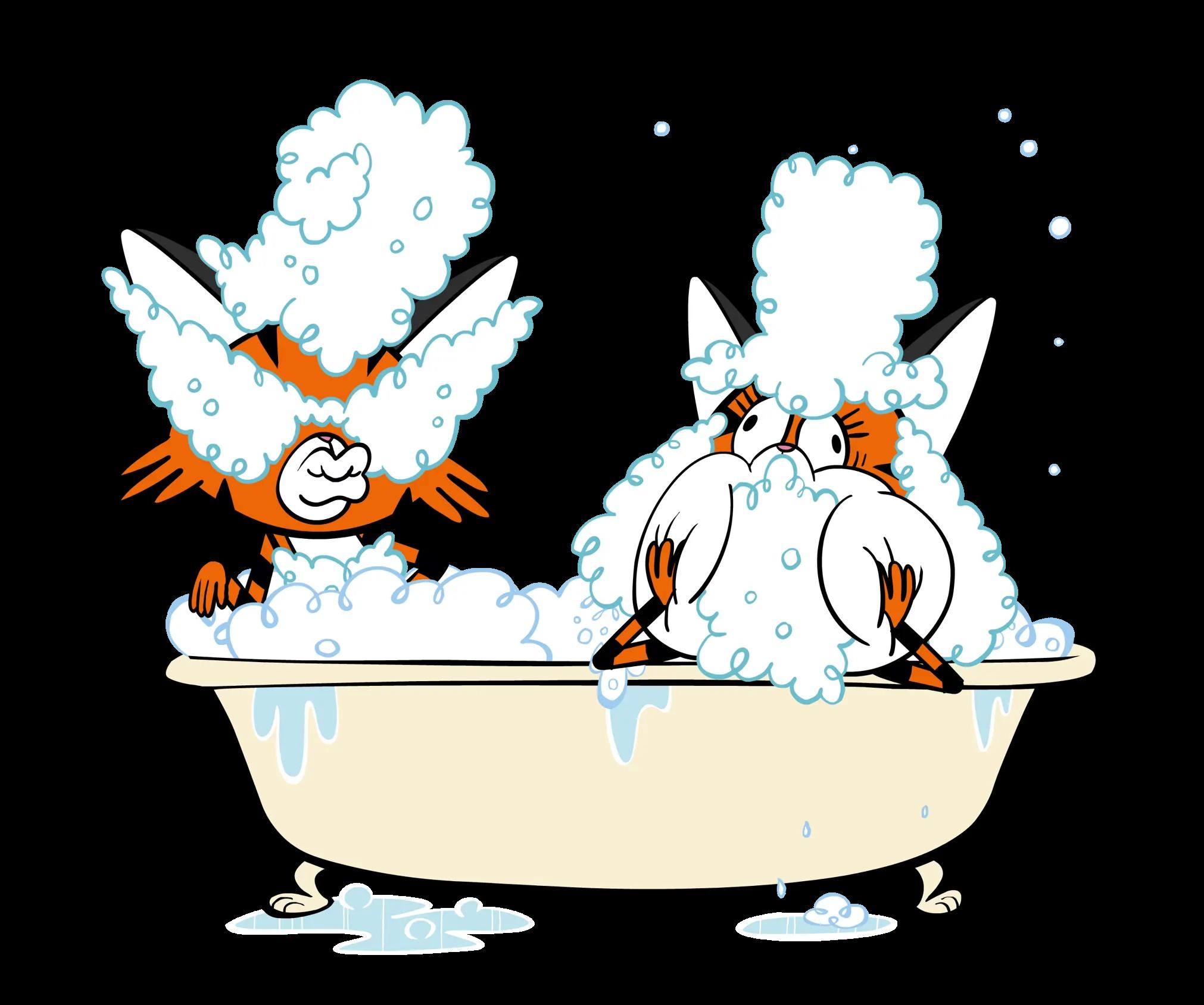 illustrated bubble bath