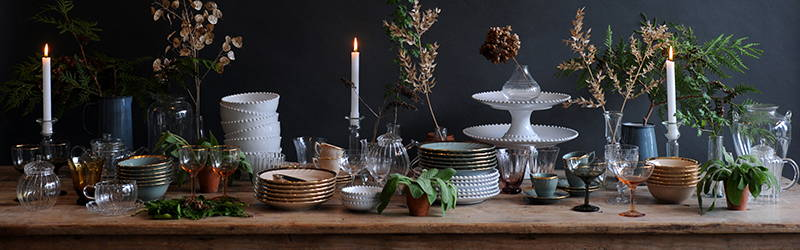 Tableware at The Hambledon decorated with products from Bitossi, Costa Nova and Falcon Enamelware