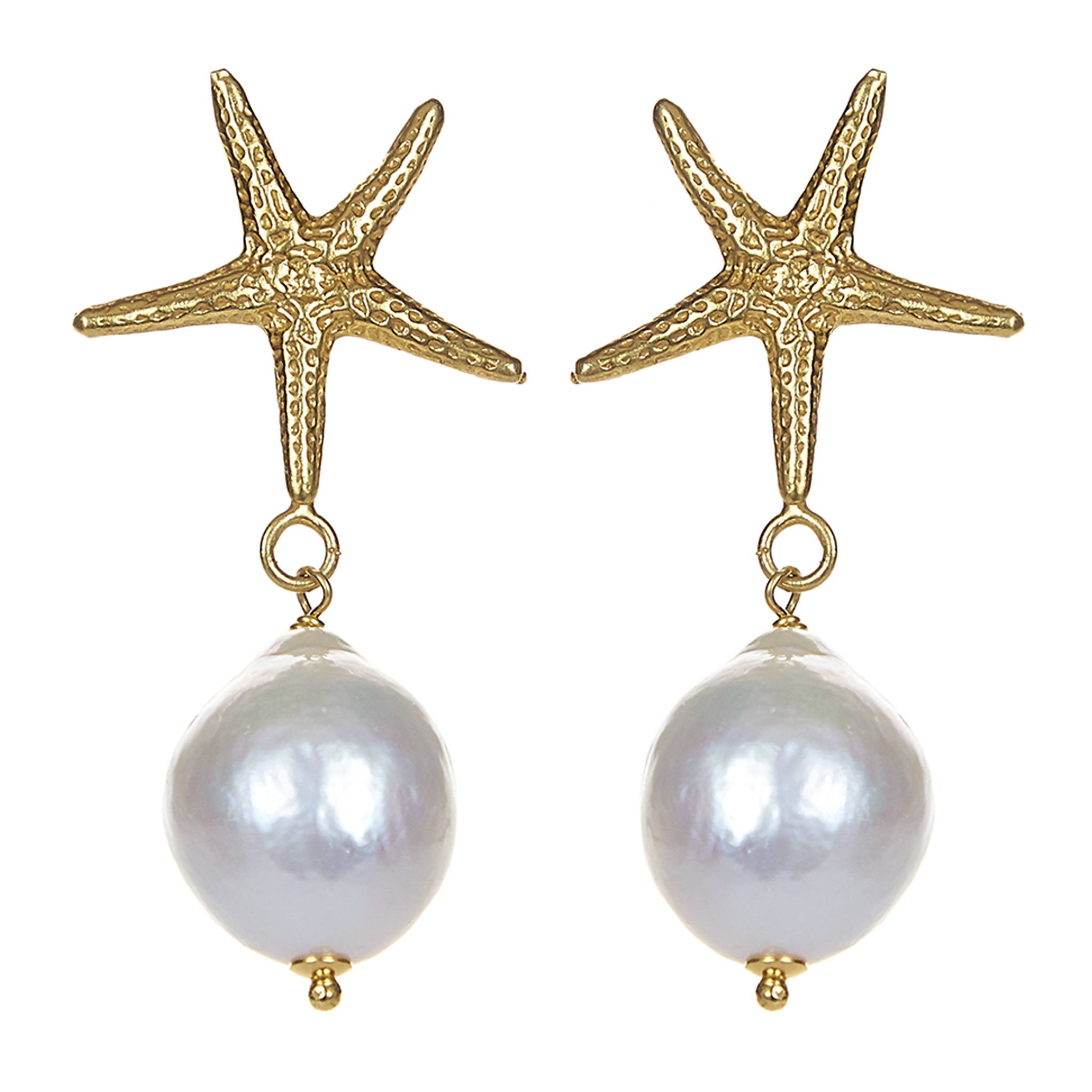 SORU JEWELLERY PEARL STARFISH EARRINGS