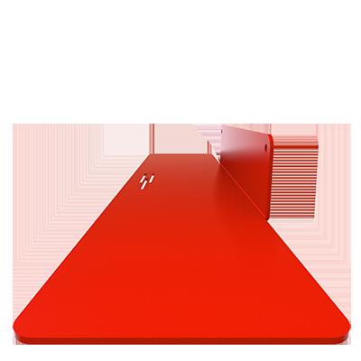 détail étagères murales rouge métal