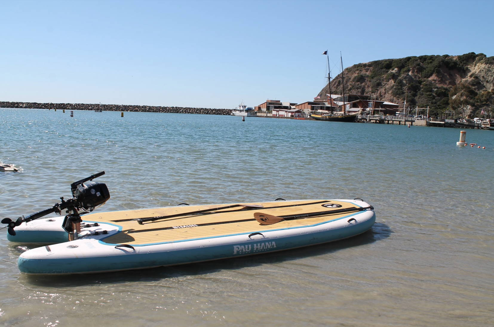This is the best skiff board. Inflatable paddle board on the water